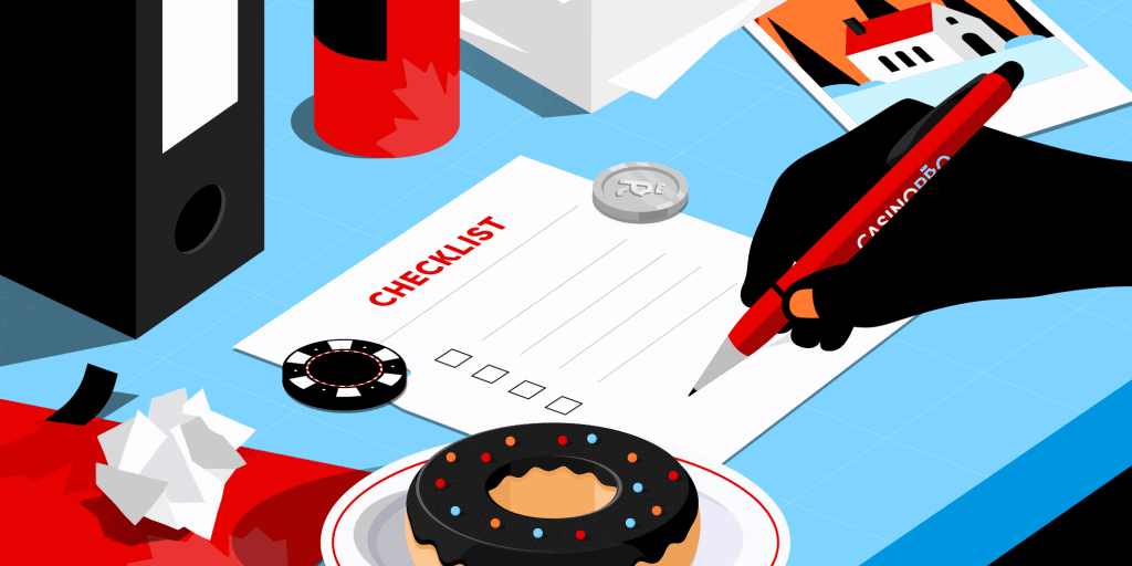 Someone holding a casinopro pen, filling out a checklist on a blue table with casino chips and a donut