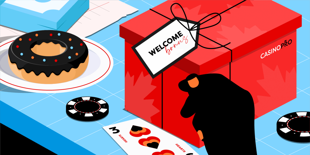 A red present on a blue table with a tag that reads 'Welcome Bonus' with casino chips and playing cards