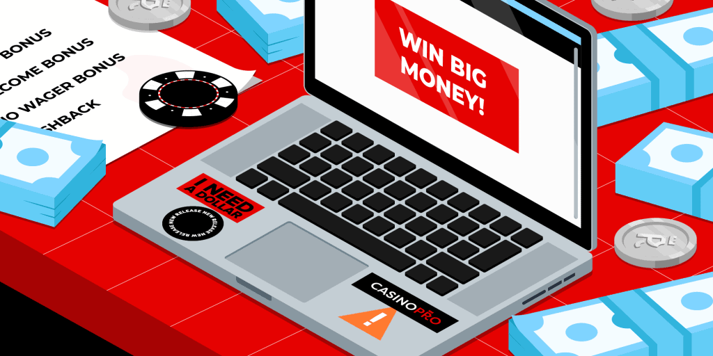 A laptop with a note on the screen reading 'Win Big Money!' on a red table, with stacks of notes, casino chips and a paper reading: 'Welcome Bonus', 'No Wager Bonus' and 'Cashback'