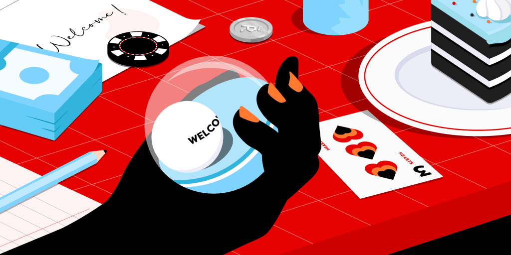 Someone holding an orb with a ball reading 'Welcome Bonus' next to a red table with a cake, casino chips and a playing card