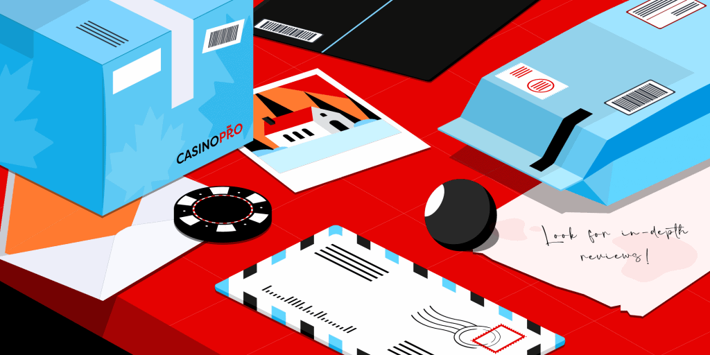 Red table with parcels, letters, casino chips and a note reading: 'Look for in-depth casino reviews'