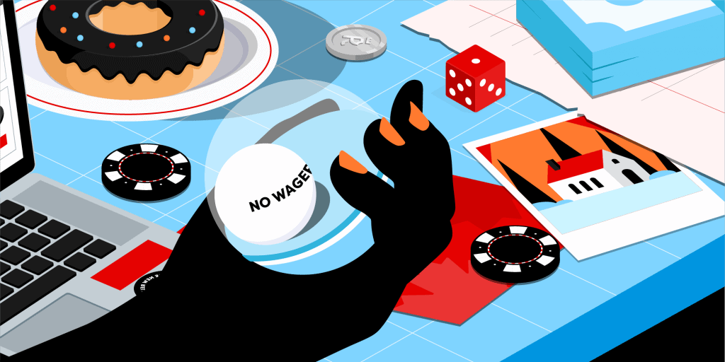 A hand holding a ball reading 'No wagering bonus' in front of a table with dice, casino chips and a donut