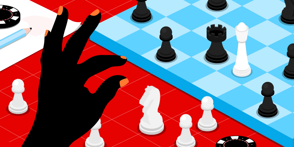 A blue chess board on a red table, surrounded by casino chips